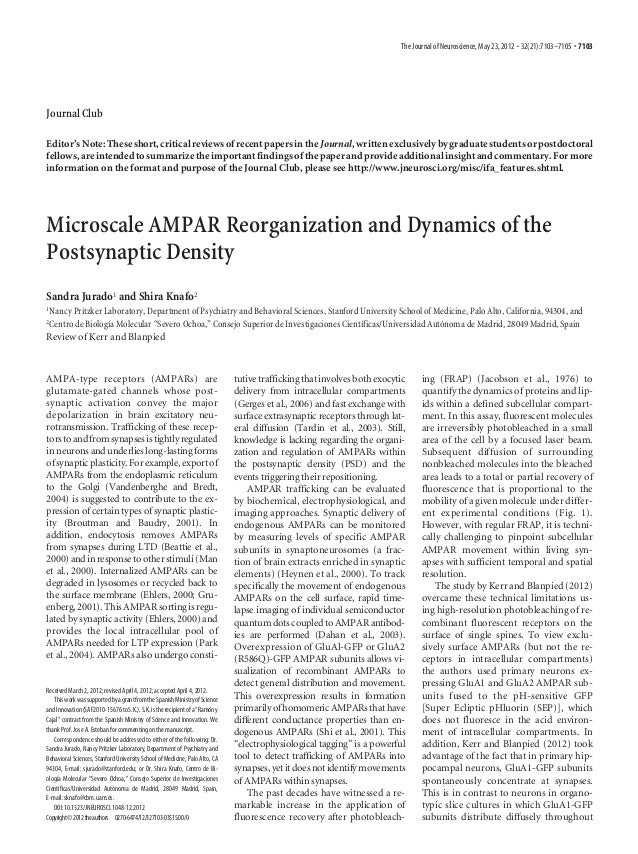 The Journal of Neuroscience, May 23, 2012 • 32(21):7103–7105 • 7103Journal ClubEditor's Note: These short, critical review...