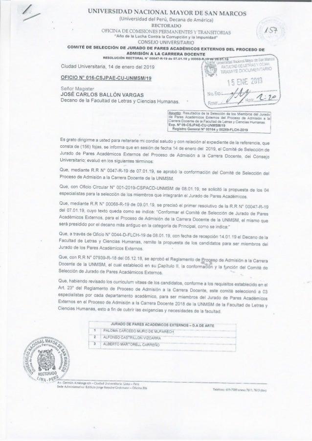Jurado de Pares Académicos Externos del proceso de Admisión a la Carrera Docente 2019