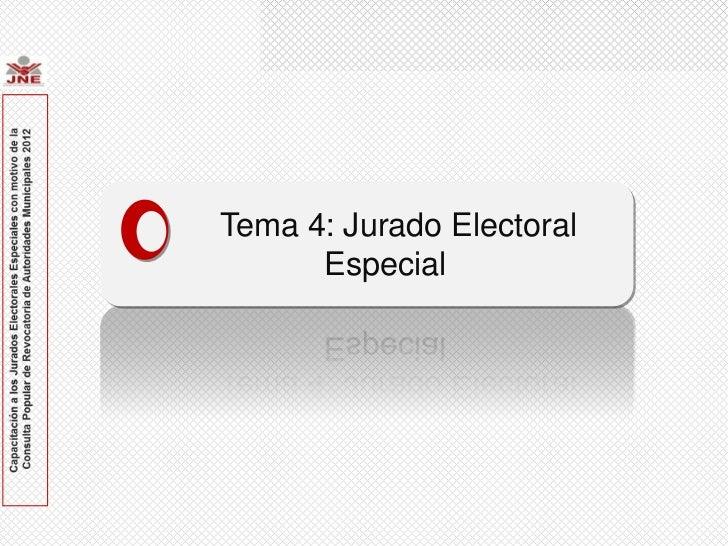 Tema 4: Jurado Electoral EspecialTema 4: Jurado Electoral      Especial
