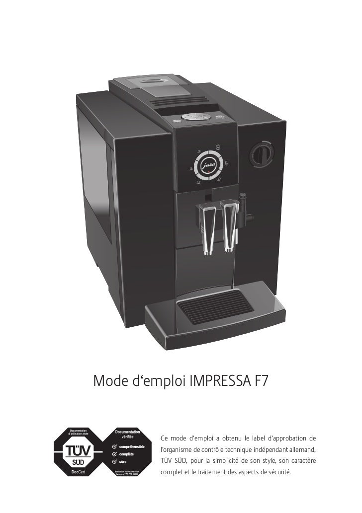 Robot Caf 233 Jura Impressa F7 Mode D Emploi