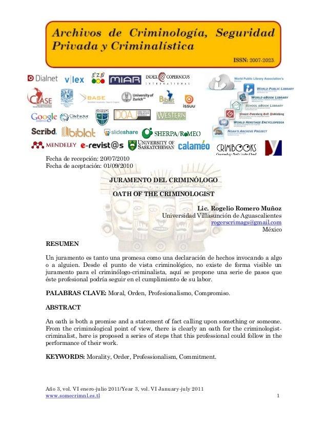Año 3, vol. VI enero-julio 2011/Year 3, vol. VI January-july 2011 www.somecrimnl.es.tl 1 Fecha de recepción: 20/07/2010 Fe...