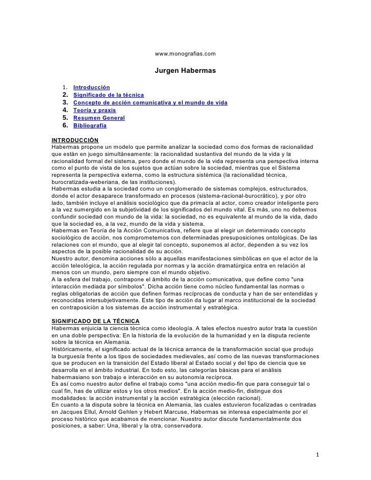 www.monografias.com                                         Jurgen Habermas      1. Introducción     2. Significado de la ...