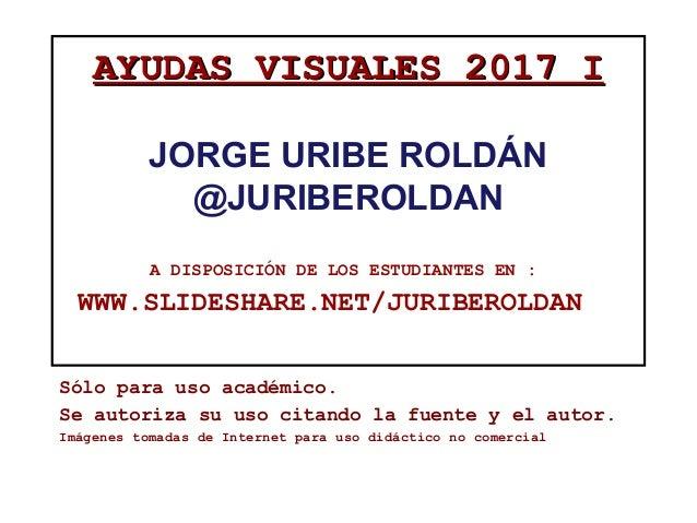 AYUDAS VISUALES 2017 IAYUDAS VISUALES 2017 I JORGE URIBE ROLDÁN @JURIBEROLDAN A DISPOSICIÓN DE LOS ESTUDIANTES EN : WWW.SL...