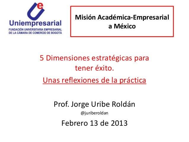 Misión Académica-Empresarial                    a México5 Dimensiones estratégicas para          tener éxito. Unas reflexi...