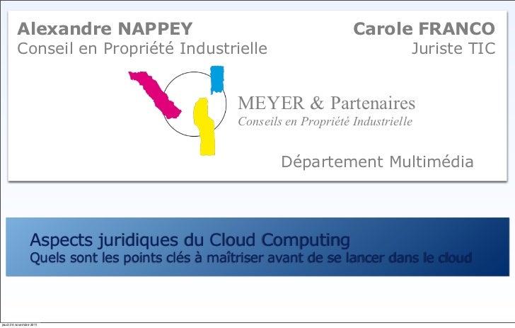 Alexandre NAPPEY                                               Carole FRANCO         Conseil en Propriété Industrielle    ...