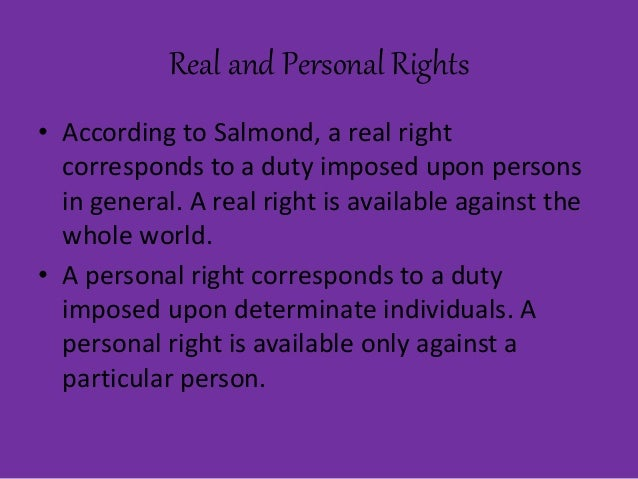 personal right vs real right