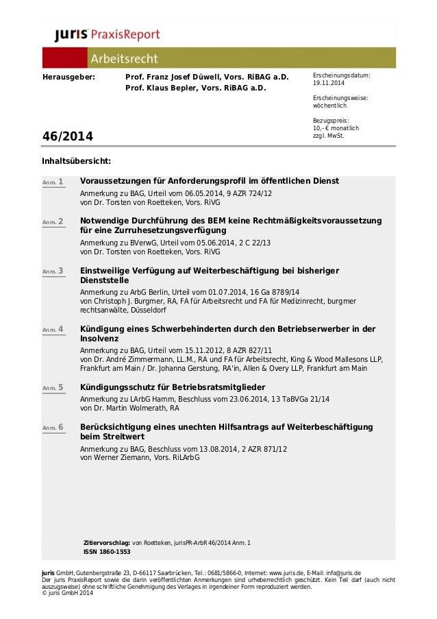 Herausgeber: Prof. Franz Josef Düwell, Vors. RiBAG a.D.  Prof. Klaus Bepler, Vors. RiBAG a.D.  46/2014  Inhaltsübersicht: ...