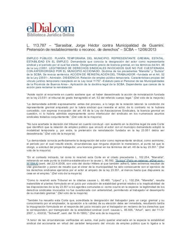 """L. 113.787 – """"Sarasibar, Jorge Héctor contra Municipalidad de Guaminí. Pretensión de restablecimiento o reconoc. de derech..."""