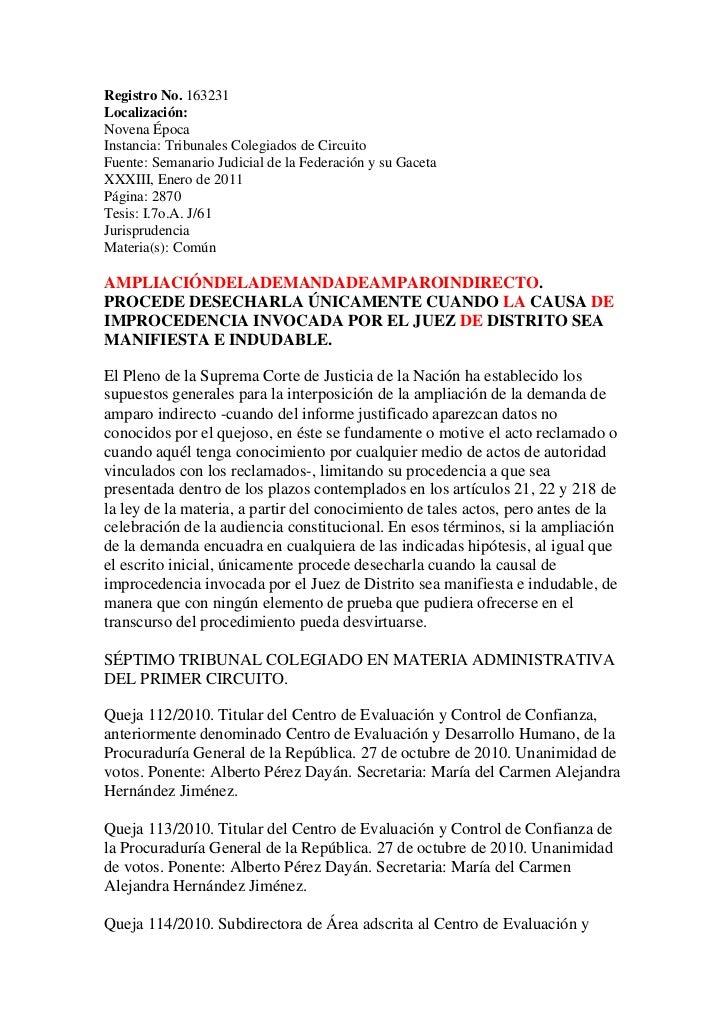 Registro No. 163231Localización:Novena ÉpocaInstancia: Tribunales Colegiados de CircuitoFuente: Semanario Judicial de la F...