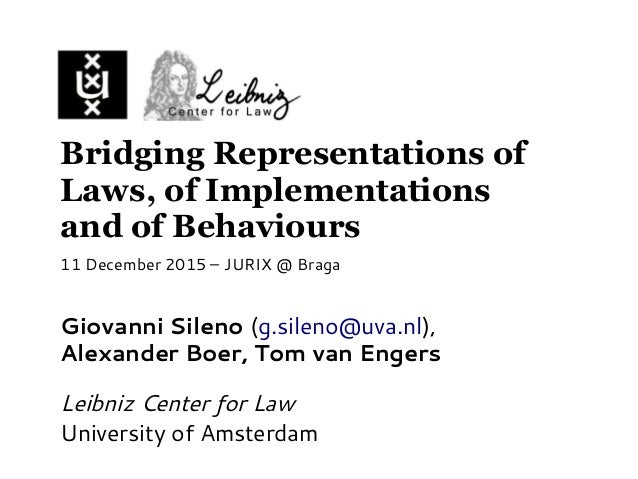 Bridging Representations of Laws, of Implementations and of Behaviours Giovanni Sileno (g.sileno@uva.nl), Alexander Boer, ...