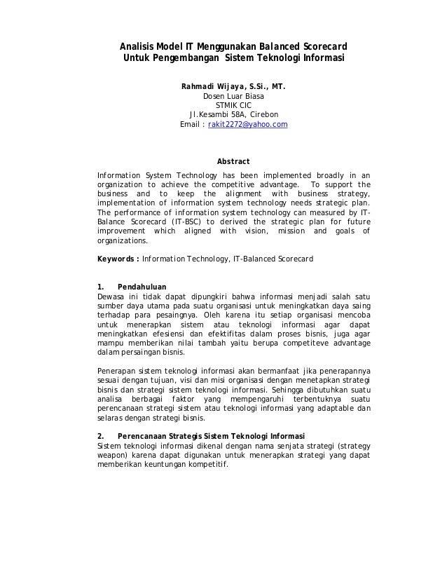 Analisis Model IT Menggunakan Balanced ScorecardUntuk Pengembangan Sistem Teknologi InformasiRahmadi Wijaya, S.Si., MT.Dos...