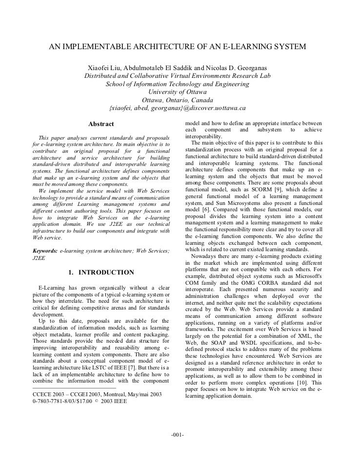 AN IMPLEMENTABLE ARCHITECTURE OF AN E-LEARNING SYSTEM                       Xiaofei Liu, Abdulmotaleb El Saddik and Nicola...