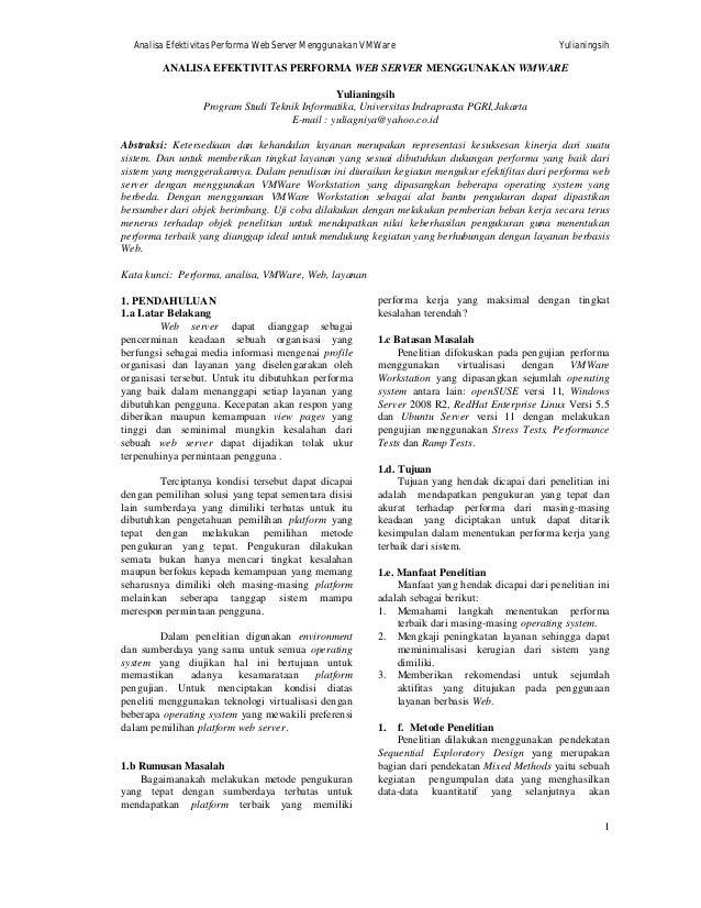 Analisa Efektivitas Performa Web Server Menggunakan VMWare  Yulianingsih  ANALISA EFEKTIVITAS PERFORMA WEB SERVER MENGGUNA...