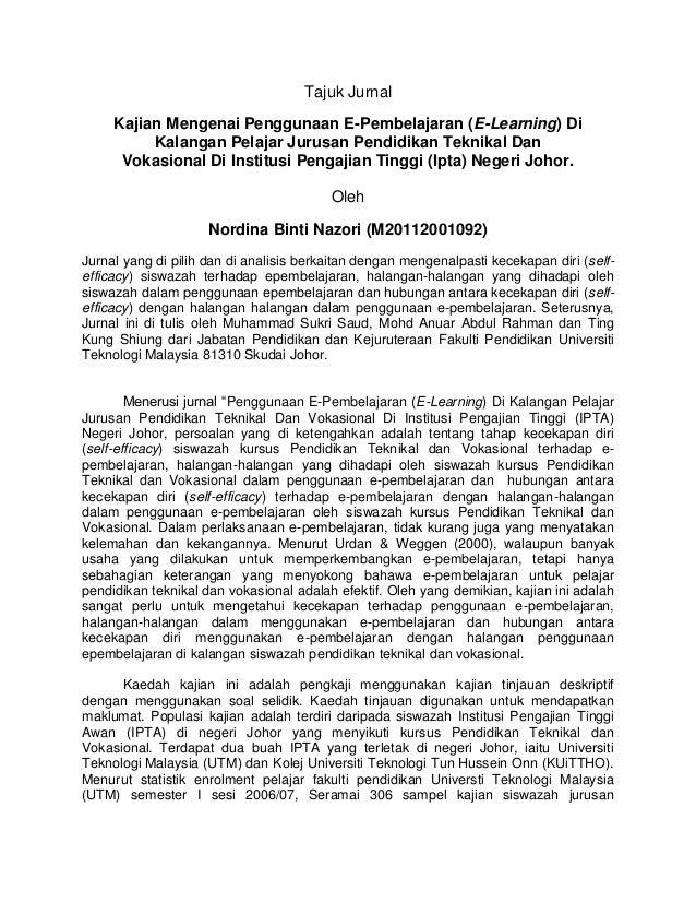 Tajuk Jurnal Kajian Mengenai Penggunaan E-Pembelajaran (E-Learning) Di Kalangan Pelajar Jurusan Pendidikan Teknikal Dan Vo...
