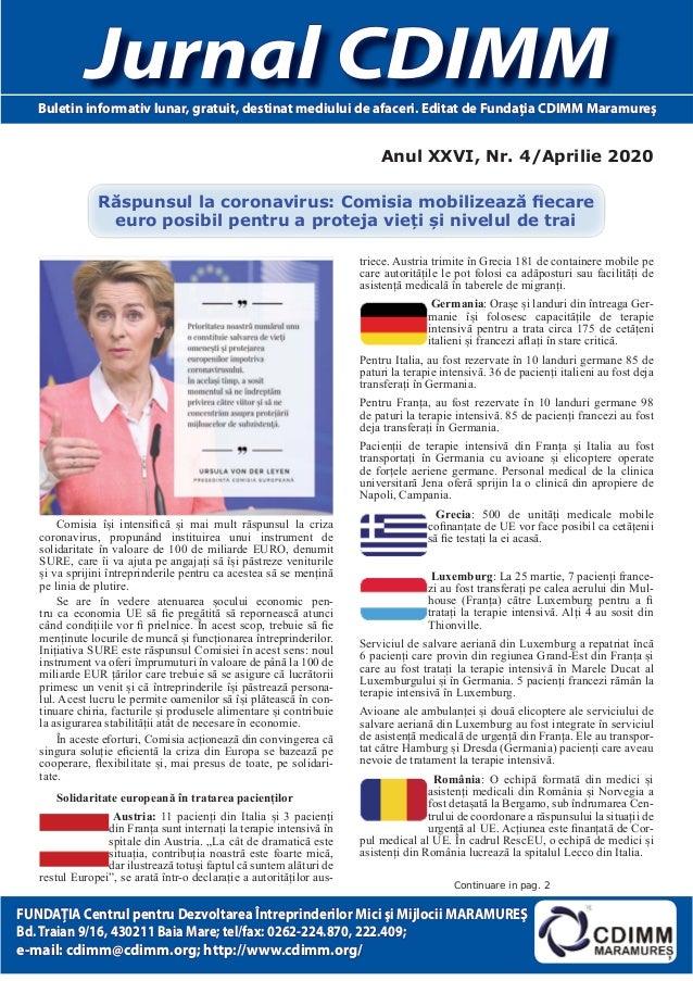 Anul XXVI, Nr. 4/Aprilie 2020 Jurnal CDIMMJurnal CDIMMBuletin informativ lunar, gratuit, destinat mediului de afaceri. Edi...