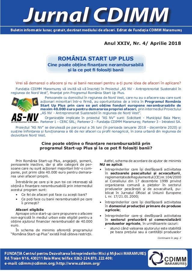 Anul XXIV, Nr. 4/ Aprilie 2018 Jurnal CDIMMBuletin informativ lunar, gratuit, destinat mediului de afaceri. Editat de Fund...