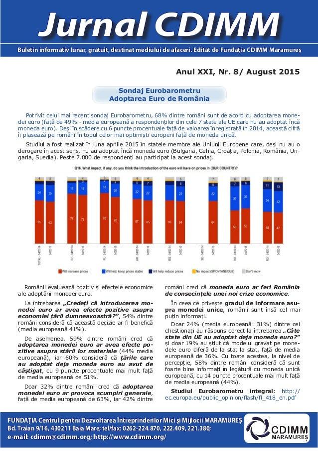 Anul XXI, Nr. 8/ August 2015 Jurnal CDIMMBuletin informativ lunar, gratuit, destinat mediului de afaceri. Editat de Fundaţ...
