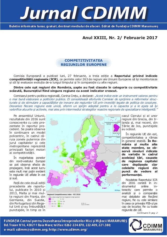 Anul XXIII, Nr. 2/ Februarie 2017 Jurnal CDIMMBuletin informativ lunar, gratuit, destinat mediului de afaceri. Editat de F...