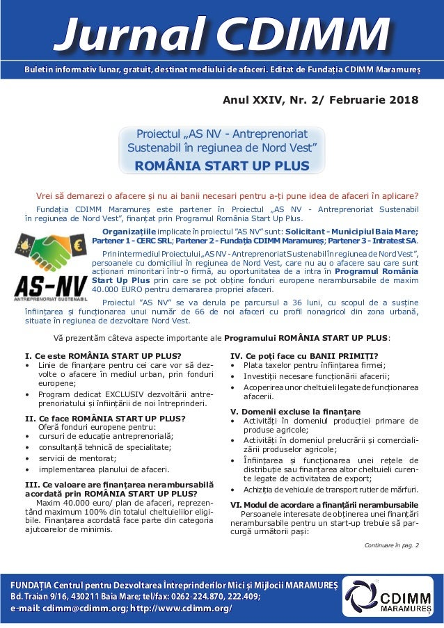 Anul XXIV, Nr. 2/ Februarie 2018 Jurnal CDIMMBuletin informativ lunar, gratuit, destinat mediului de afaceri. Editat de Fu...