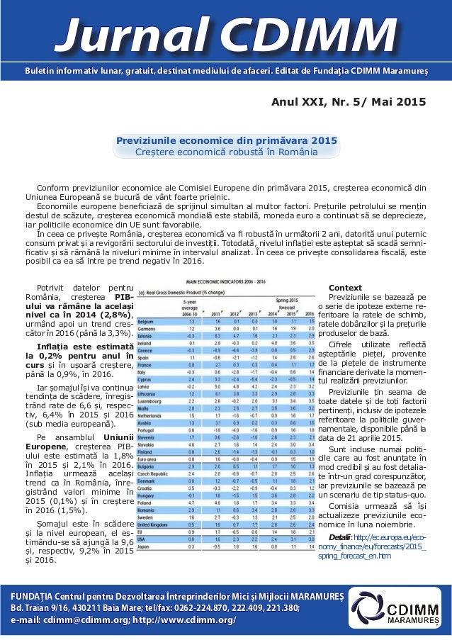 Anul XXI, Nr. 5/ Mai 2015 Jurnal CDIMMBuletin informativ lunar, gratuit, destinat mediului de afaceri. Editat de Fundaţia ...