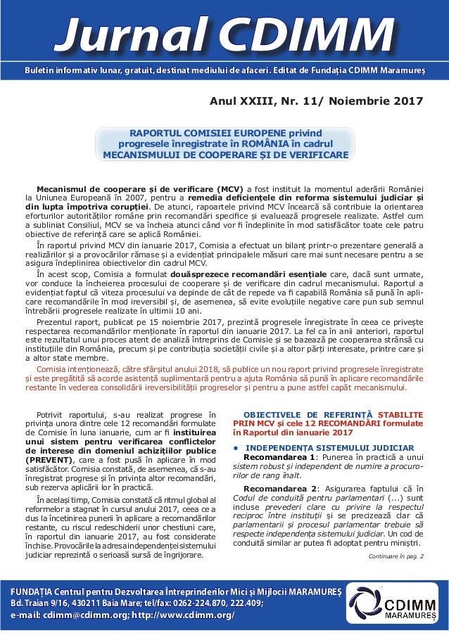 Anul XXIII, Nr. 11/ Noiembrie 2017 Jurnal CDIMMBuletin informativ lunar, gratuit, destinat mediului de afaceri. Editat de ...