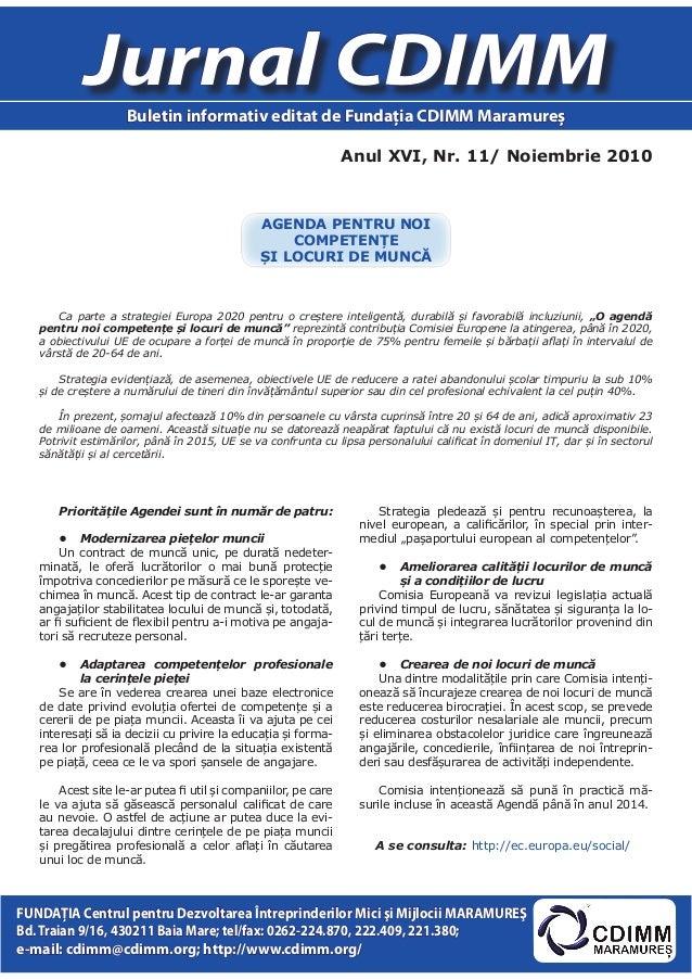 Anul XVI, Nr. 11/ Noiembrie 2010 Jurnal CDIMM Buletin informativ editat de Fundaţia CDIMM Maramureş FUNDAŢIA Centrul pentr...