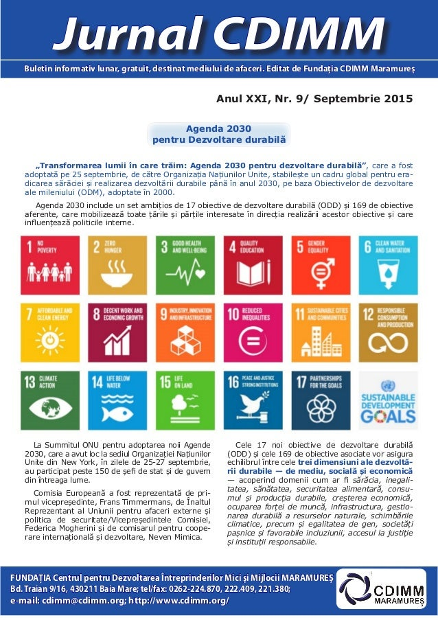 Anul XXI, Nr. 9/ Septembrie 2015 Jurnal CDIMMBuletin informativ lunar, gratuit, destinat mediului de afaceri. Editat de Fu...
