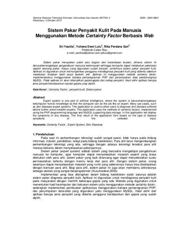 Jurnal Sistem Pakar Penyakit Kulit Dengan Menggunakan Metode Certaint