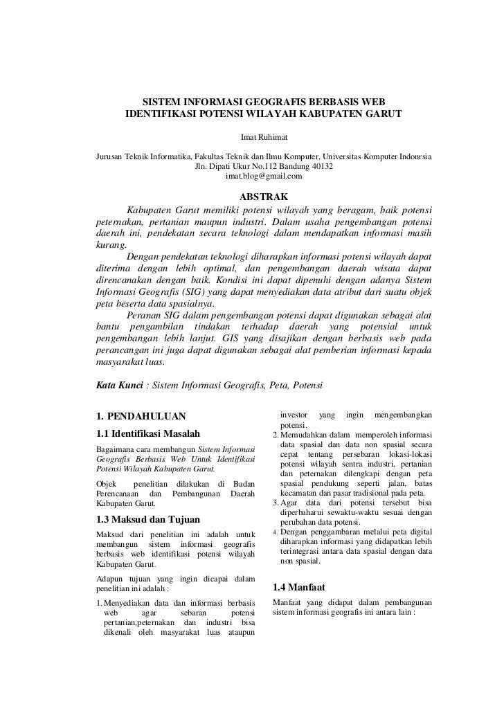 SISTEM INFORMASI GEOGRAFIS BERBASIS WEB        IDENTIFIKASI POTENSI WILAYAH KABUPATEN GARUT                               ...