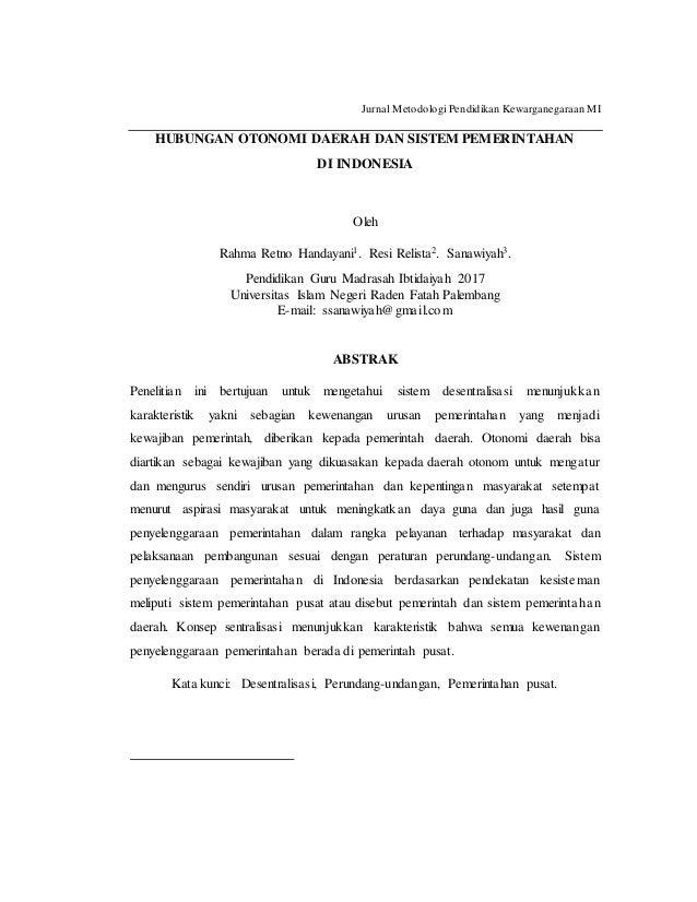 Hubungan Otonomi Daerah Dan Sistem Pemerintahan Di Indonesia