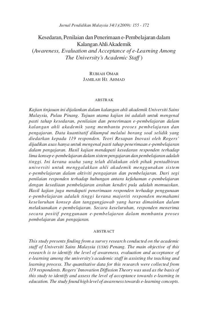Jurnal Pendidikan Malaysia 34(1)(2009): 155 - 172   Kesedaran, Penilaian dan Penerimaan e-Pembelajaran dalam              ...