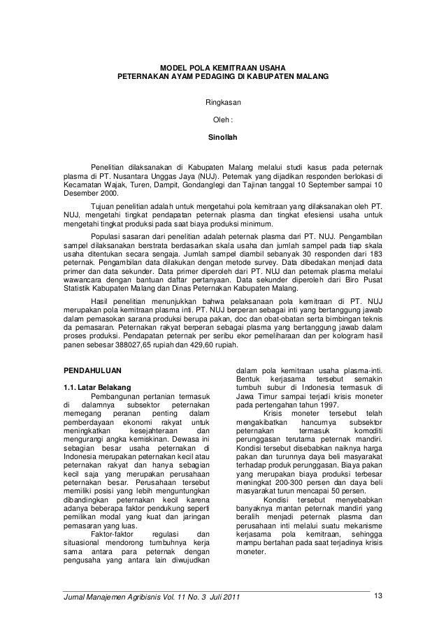 Jurnal Manajemen Agribisnis Vol 11 No 3 Juli 2011
