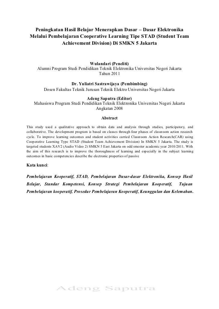 Peningkatan Hasil Belajar Menerapkan Dasar – Dasar Elektronika  Melalui Pembelajaran Cooperative Learning Tipe STAD (Stude...