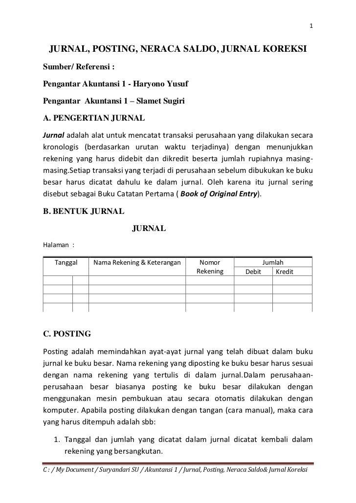 1  JURNAL, POSTING, NERACA SALDO, JURNAL KOREKSISumber/ Referensi :Pengantar Akuntansi 1 - Haryono YusufPengantar Akuntans...