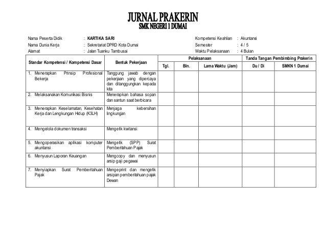 Contoh Jurnal Prakerin