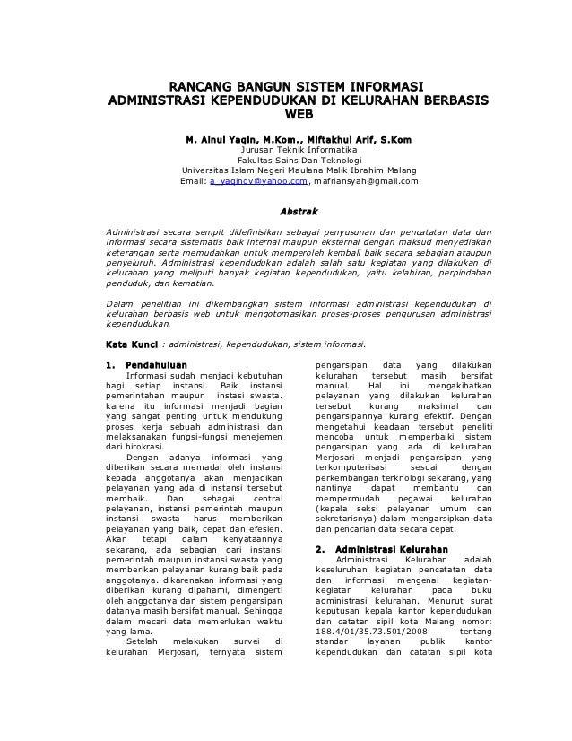 RANCANG BANGUN SISTEM INFORMASIADMINISTRASI KEPENDUDUKAN DI KELURAHAN BERBASIS                     WEB                  M....