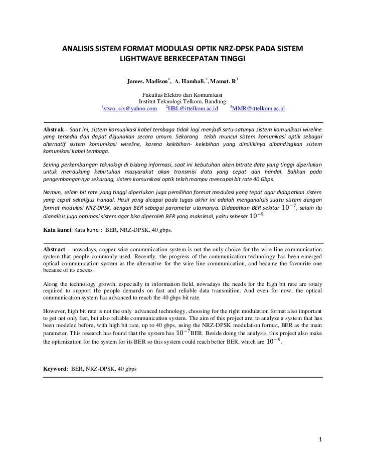 ANALISIS SISTEM FORMAT MODULASI OPTIK NRZ-DPSK PADA SISTEM                       LIGHTWAVE BERKECEPATAN TINGGI            ...
