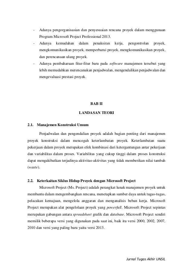 Jurnal Microsoft Project Professional 2013 Dalam Pengelolaan Proyek