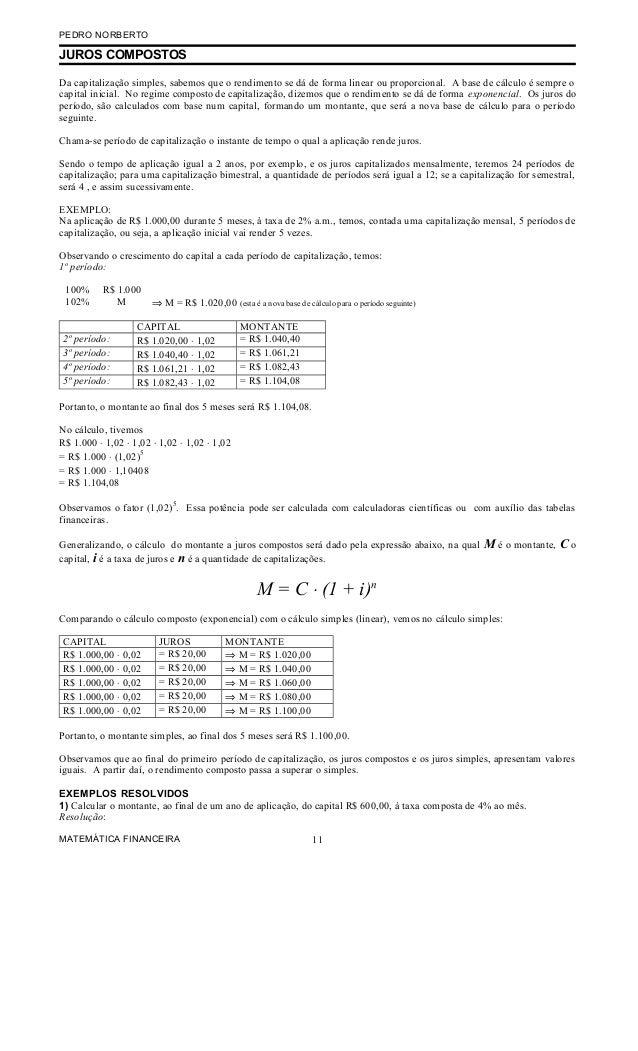 PEDRO NORBERTOJUROS COMPOSTOSDa capitalização simples, sabemos que o rendimento se dá de forma linear ou proporcional. A b...