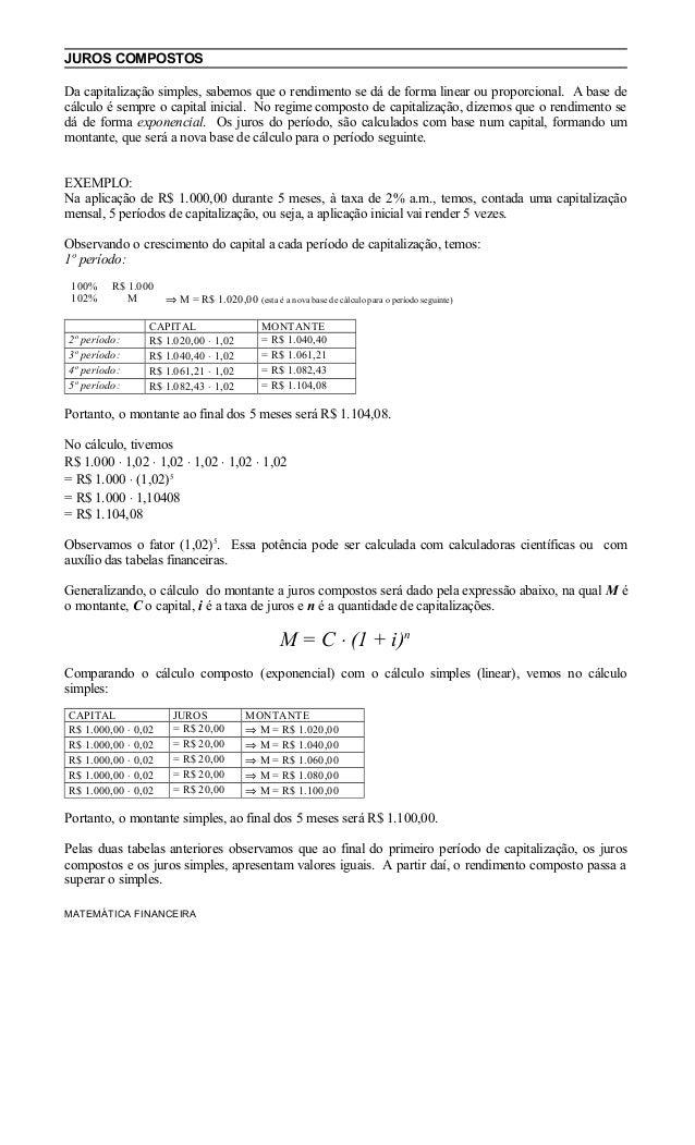 JUROS COMPOSTOS Da capitalização simples, sabemos que o rendimento se dá de forma linear ou proporcional. A base de cálcul...