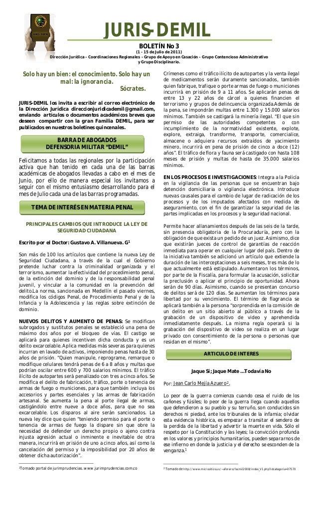 BOLETÍN No 3 (1 - 15 de Julio de 2011) Dirección Jurídica – Coordinaciones Regionales - Grupo de Apoyo en Casación – Grupo...