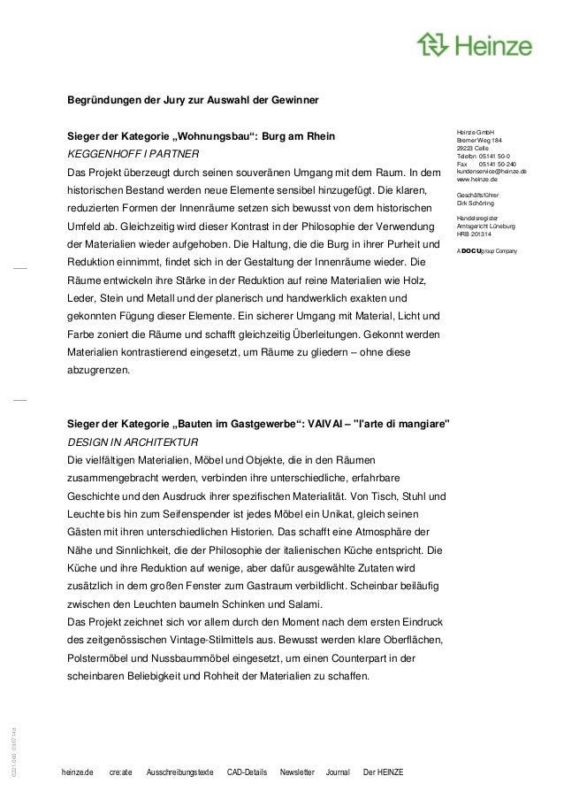 """Begründungen der Jury zur Auswahl der Gewinner                    Sieger der Kategorie """"Wohnungsbau"""": Burg am Rhein       ..."""