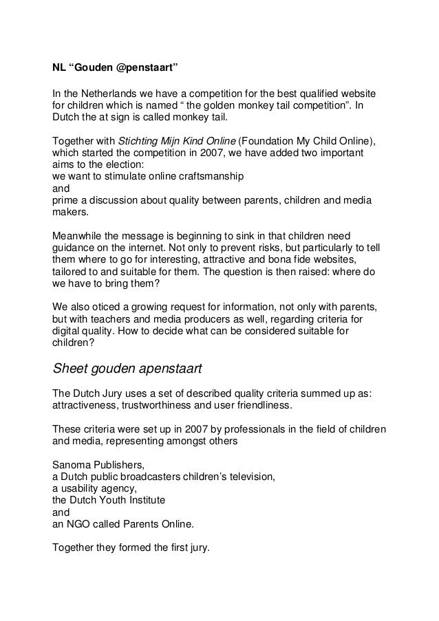 """NL """"Gouden @penstaart"""" In the Netherlands we have a competition for the best qualified website for children which is named..."""