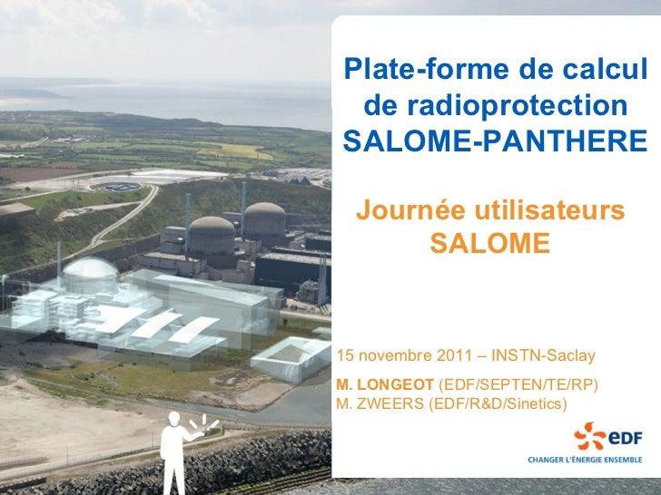 Plate-forme de calcul de radioprotectionSALOME-PANTHERE  Journée utilisateurs       SALOME15 novembre 2011 – INSTN-SaclayM...