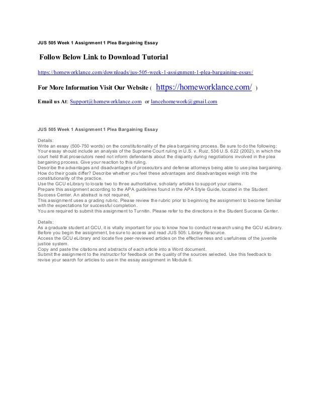 Essay on plea bargains