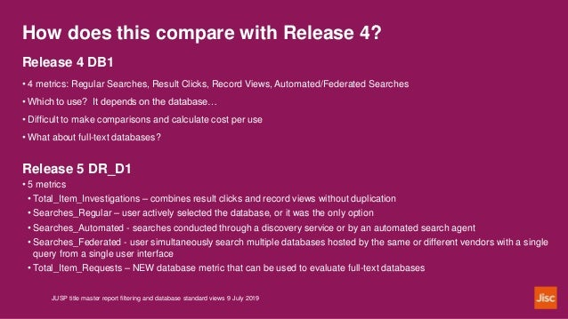 How does this compare with Release 4? JUSP title master report filtering and database standard views 9 July 2019 Release 4...