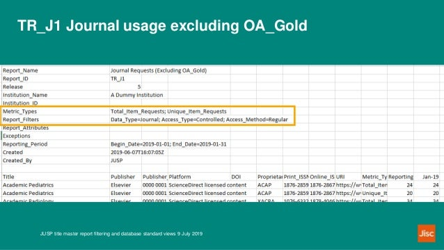 TR_J1 Journal usage excluding OA_Gold JUSP title master report filtering and database standard views 9 July 2019