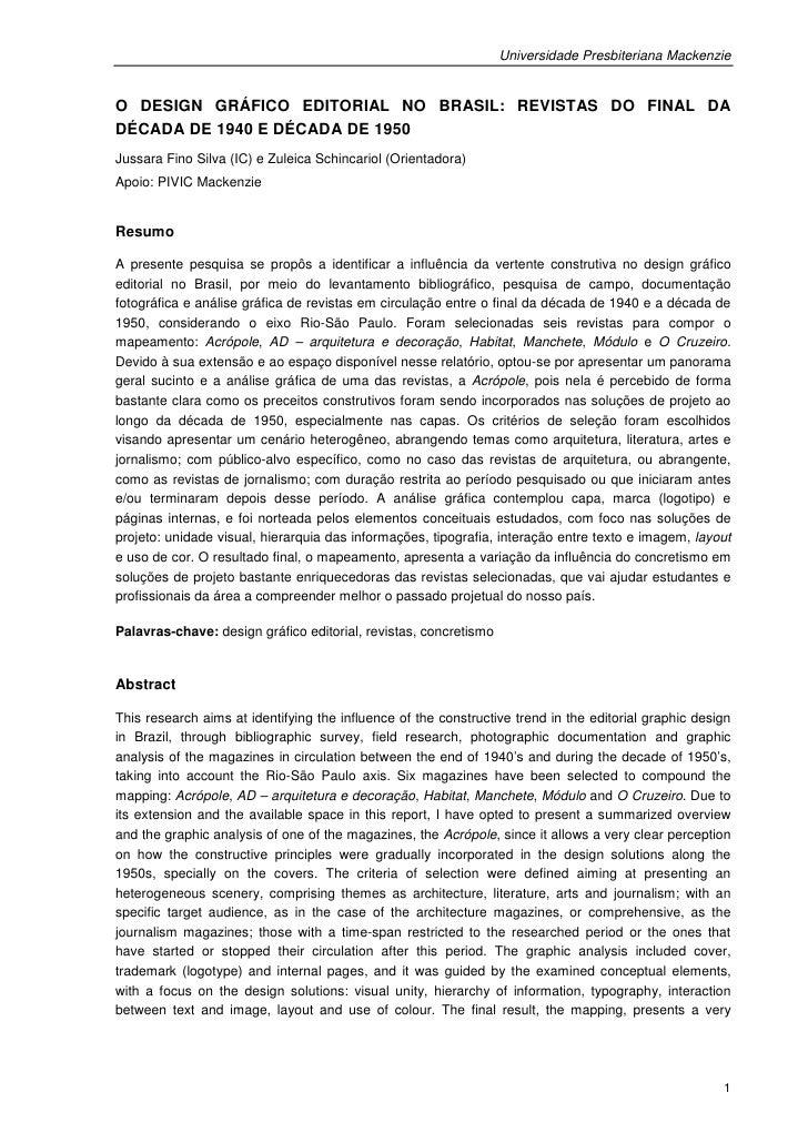 Universidade Presbiteriana MackenzieO DESIGN GRÁFICO EDITORIAL NO BRASIL: REVISTAS DO FINAL DADÉCADA DE 1940 E DÉCADA DE 1...