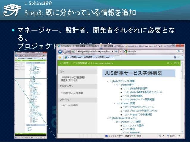 Step3: 既に分かっている情報を追加  マネージャー、設計者、開発者それぞれに必要とな る、 プロジェクト特有の情報を記載 1. Sphinx紹介 10