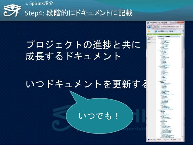 Step4: 段階的にドキュメントに記載 プロジェクトの進捗と共に 成長するドキュメント いつドキュメントを更新する? 1. Sphinx紹介 いつでも! 11